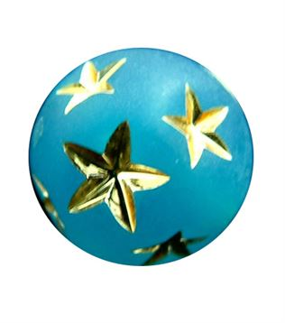 10mm Gold Star Round Beads - Caribbean Blue
