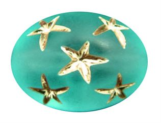 13.5x10mm Gold Star Oval Beads - Blue Zircon
