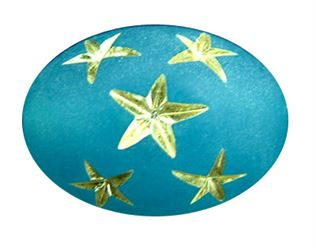 17x12mm Gold Star Oval Beads - Caribbean Blue