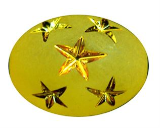 17x12mm Gold Star Oval Beads - Canary Yellow