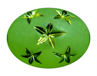 13.5x10mm Metallic Star Oval Beads - Forest Green