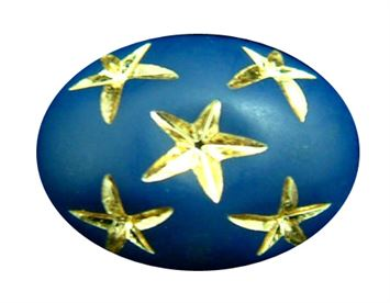 13.5x10mm Gold Star Oval Beads - Navy Blue