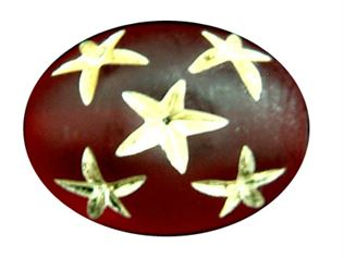 17x12mm Gold Star Oval Beads - Siam