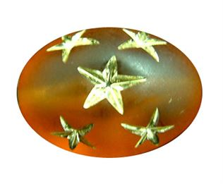 17x12mm Gold Star Oval Beads - Topaz