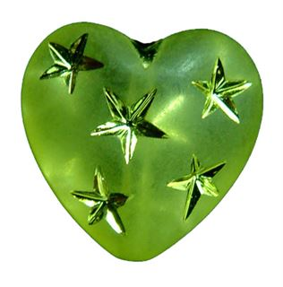10mm Metallic Star Heart Beads - Olivine