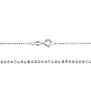 1mm Sterling Silver Diamond Cut Bead Chain Necklace - 16 inches