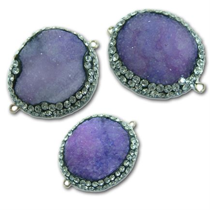 25-35mm Purple Drusy Agate Free Form Connector with Crystals - 2 Hole