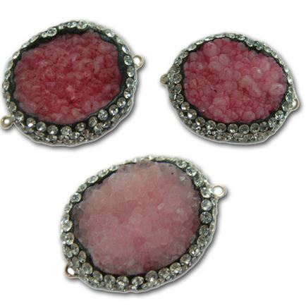 25-35mm Fuchsia Drusy Agate Free Form Connector with Crystals - 2 Hole