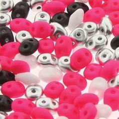 Superduo Beads 2.5x5mm Diva Pink Mix - Apprx 24GM/TB