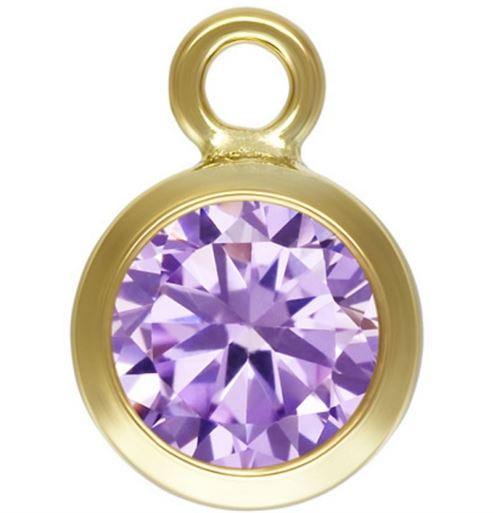 4mm Gold Filled Bezel Drop 3A CZ - Alexandrite