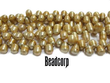 9-10mm Champagne Fresh Water Drop Pearls 15