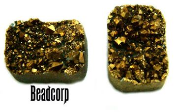 15x20mm Gold Druzy Pillow Cabochon