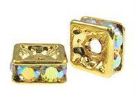 4mm Gold Plated Squaredells with Swarovski (choose color)