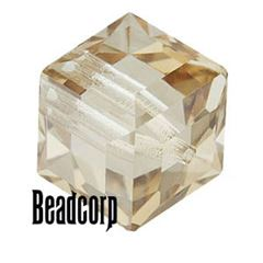 Swarovski 5601 Cube Crystal Beads - Crystal Golden Shadow