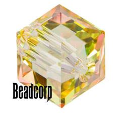 Swarovski 5601 Cube Crystal Beads - Crystal Luminous Green