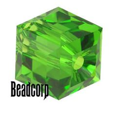 Swarovski 5601 Cube Crystal Beads - Fern Green