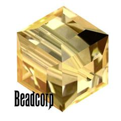 Swarovski 5601 Cube Crystal Beads - Light Colorado Topaz