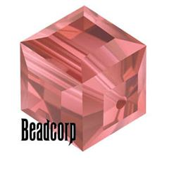 Swarovski 5601 Cube Crystal Beads - Padparadscha