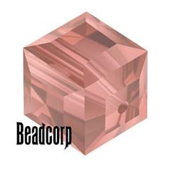 Swarovski 5601 Cube Crystal Beads - Light Peach