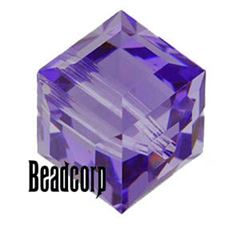 Swarovski 5601 Cube Crystal Beads - Tanzanite