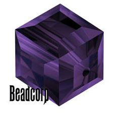 Swarovski 5601 Cube Crystal Beads - Purple Velvet