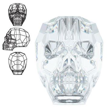 5750 Swarovski Skull Beads - Crystal - 19mm