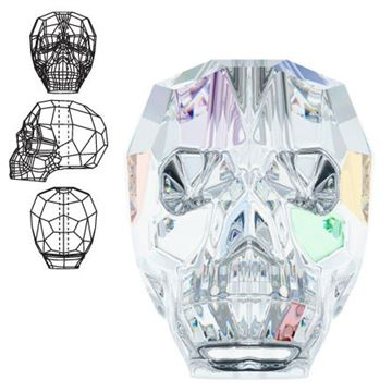 5750 Swarovski Skull Beads - Crystal AB - 19mm