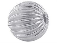 6mm sterling silver corrugated beads 1pc.