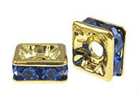 6mm Gold Plated Square Dells with Swarovski (choose color)