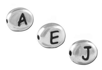 7mm Pewter Silver Plated Oval Letter Beads