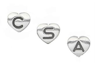 7mm Sterling Silver Heart Letter Beads