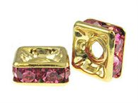 8mm Gold Plated Square Dells with Swarovski (choose color)