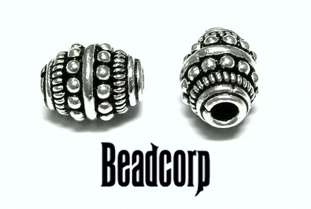 11.5x9mm Sterling Silver Bali Bead