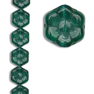 8MM GREEN FLOWER CZECH GLASS BEADS