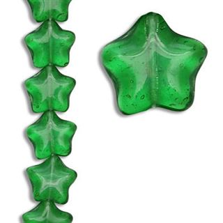 11MM GREEN STAR CZECH GLASS BEADS