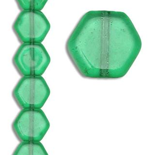 9MM GREEN CZECH GLASS BEADS