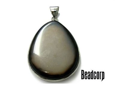 25x35mm Black & White Agate Pear Charm