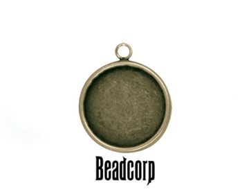 18mm Antique Bronze Round Bezel Setting Pendant