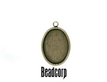 18x13mm Antique Bronze Oval Bezel Setting Pendant