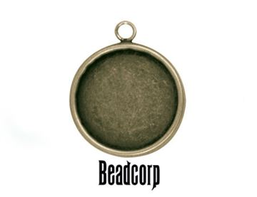 25mm Antique Bronze Round Bezel Setting Pendant - 2 pcs.