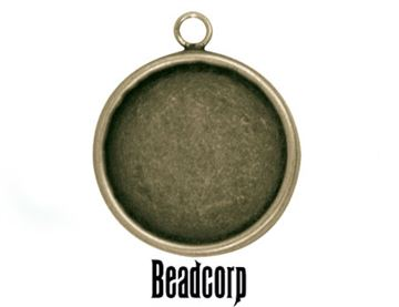 30mm Antique Bronze Round Bezel Setting Pendant