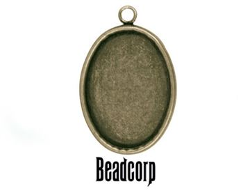 40x30mm Antique Bronze Oval Bezel Setting Pendant