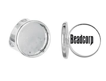 18mm Silver Plated Adjustable Ring Bezel Setting