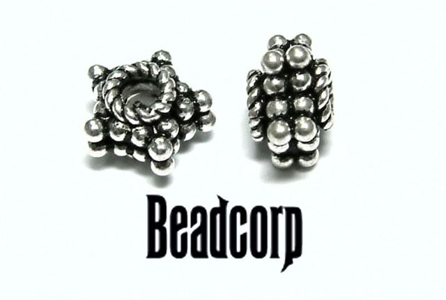 4x8mm Sterling Silver Bali Bead