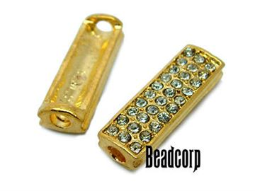 24x7.7mm Bead-Bars w/ Crystals - Gold