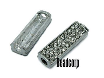 24x7.7mm Bead-Bars w/ Crystals - Nickel