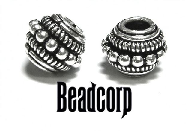 8x10mm Sterling Silver Bali Bead