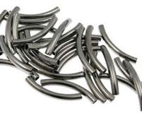 30mm Curved Noodle Beads - Gun Metal - 25 pcs.
