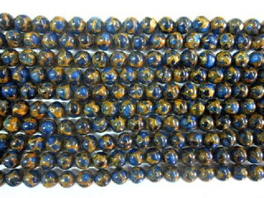 Gold / Blue Quartz Round Beads 16