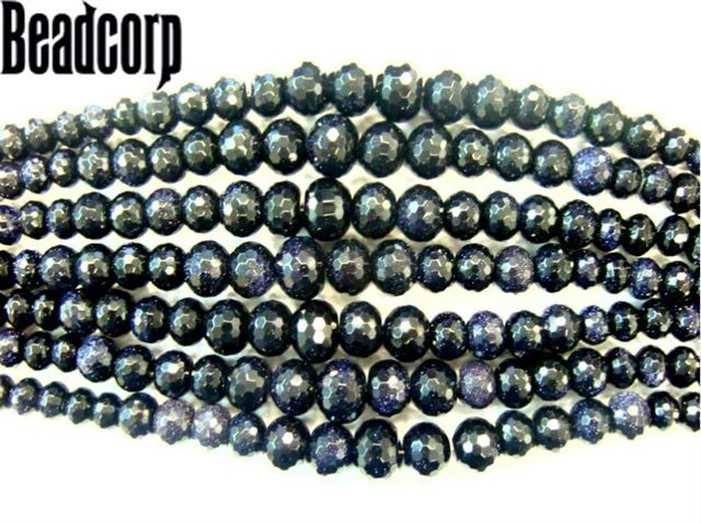 BLUE GOLD STONE FACETED GRADUATED RONDELL 6-16MM